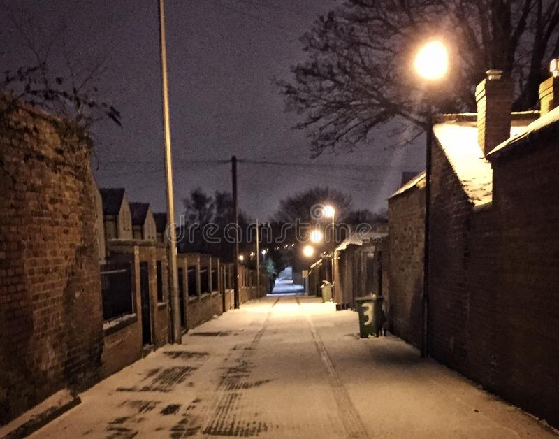 De scène van de sneeuwstraat stock fotografie
