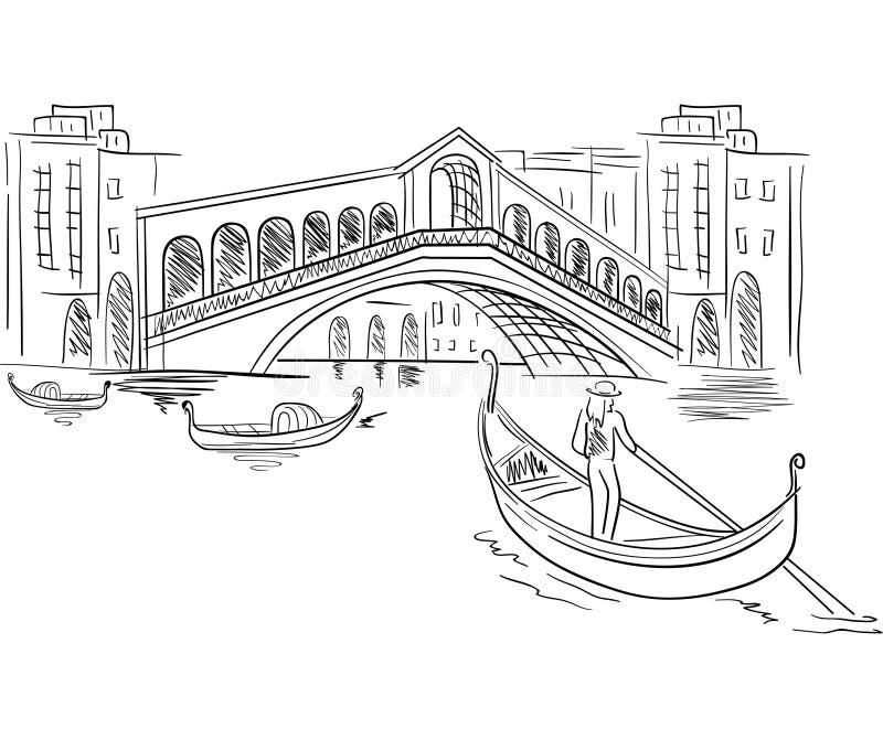 De scène van Venetië Italië stock illustratie