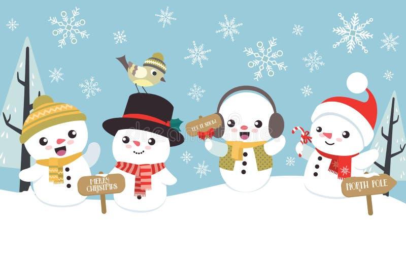 De scène van de winterkerstmis met leuk weinig sneeuwman stock afbeeldingen