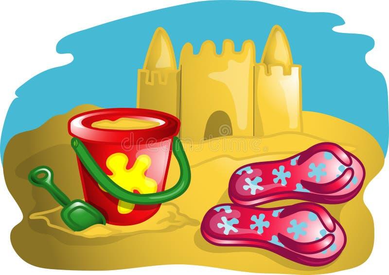 De scèneillustratie van het strand royalty-vrije illustratie