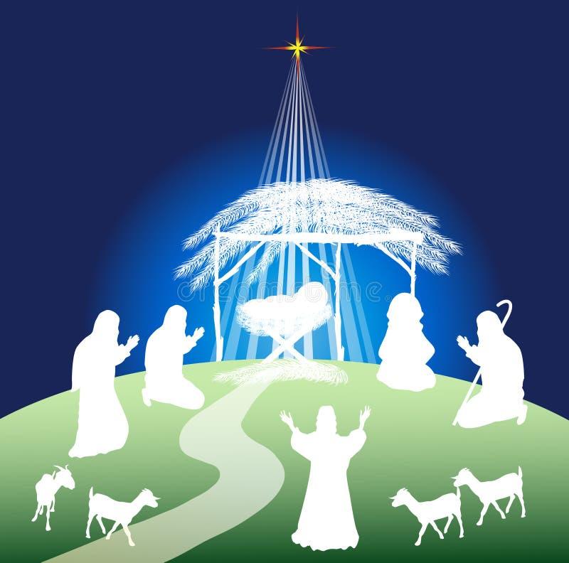 De scènesilhouet van de Kerstmisgeboorte van christus stock illustratie