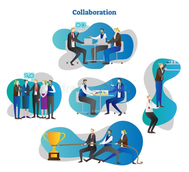 De scènesinzameling van het samenwerkingsconcept met bureaumensen die in conceptuele collectieve het werkruimte samenwerken, vect vector illustratie