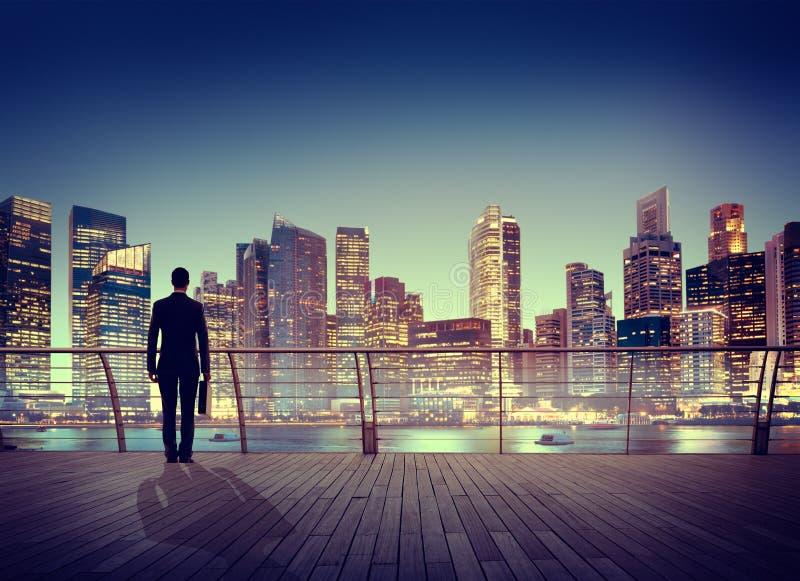 De Scènestad die van zakenmancorporate cityscape urban Concep bouwen stock foto
