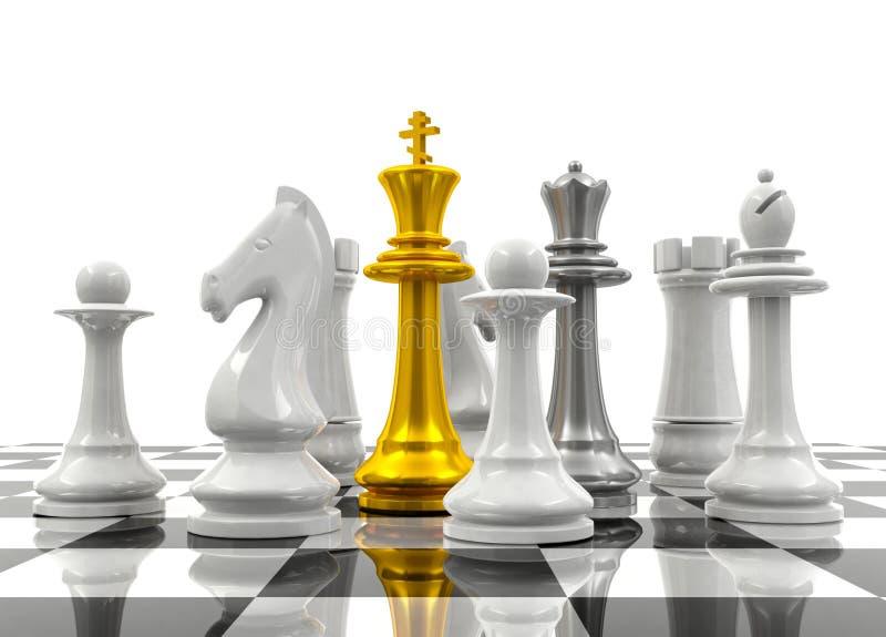 De schaakstukken beschermen schaakkoning en koningin royalty-vrije stock foto