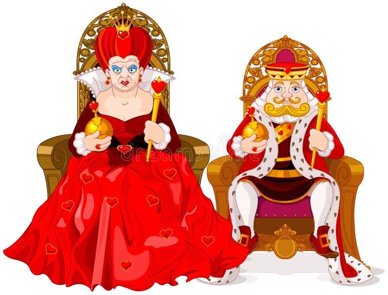 De schaakstukken van de koning en van de koningin stock illustratie