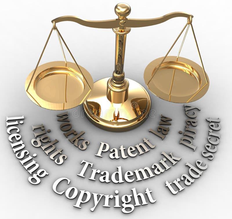 De schaal IP herstelt wettelijke rechtvaardigheidswoorden stock illustratie