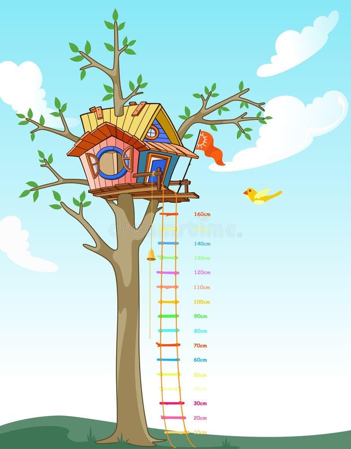 De schaal van de de jonge geitjeshoogte van het boomhuis stock illustratie