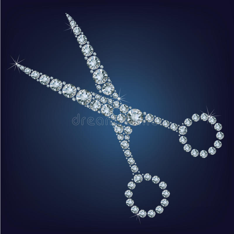 De schaar maakte omhoog heel wat diamanten royalty-vrije illustratie