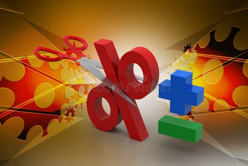 De schaar sneed het percentageteken royalty-vrije illustratie