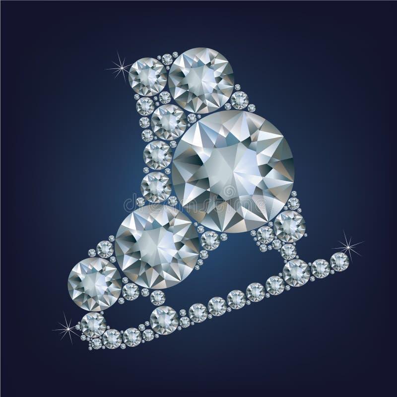 De schaatsen voor kunstschaatsen maakten heel wat diamanten vector illustratie