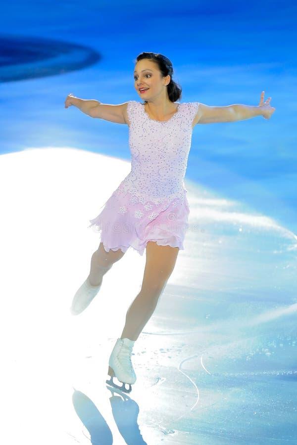De schaatser Sasha Cohen van het ijs stock foto