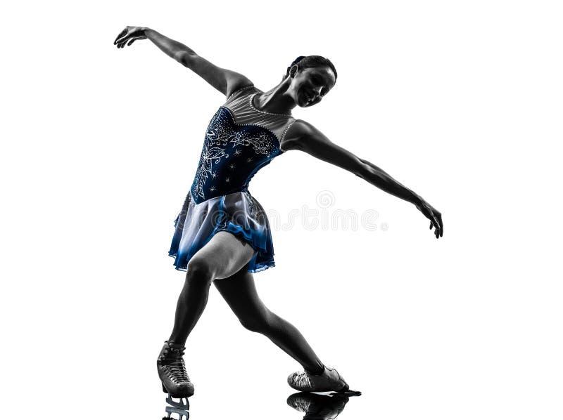De schaatser van het vrouwenijs het schaatsen silhouet stock foto