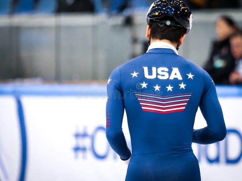 De schaatser van de V.S. tijdens de wereldbeker royalty-vrije stock fotografie