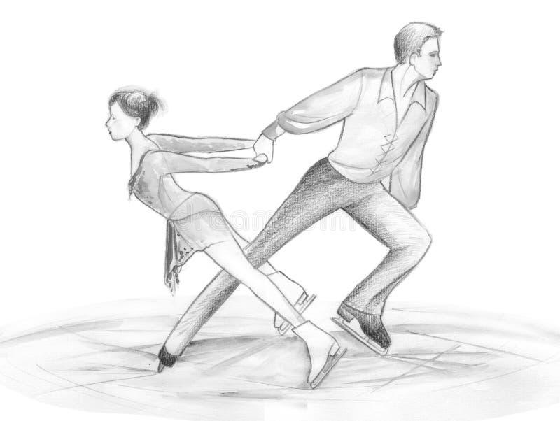 De schaatsers van het ijs - illustratie royalty-vrije illustratie