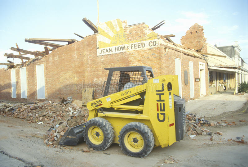 De schade van orkaanandrew, Jeanerette, La-gebied - Nationale Ramp stock foto's