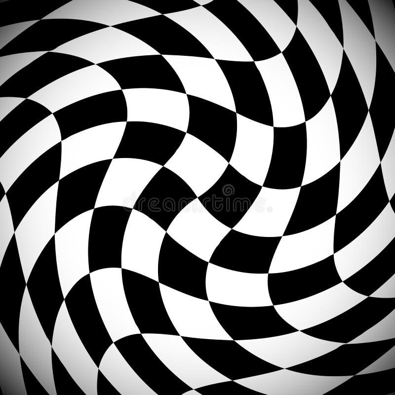 In de schaduw gesteld geruit patroon met spiraalvormig vervormingseffect vector illustratie