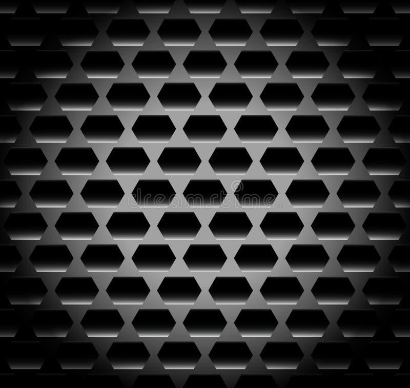 In de schaduw gestelde, Donkere achtergrond/patroon met hexagonale vormen repeata stock illustratie
