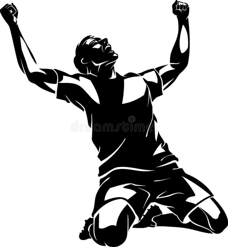 In de schaduw gestelde voetbal Jubilant Winst royalty-vrije illustratie
