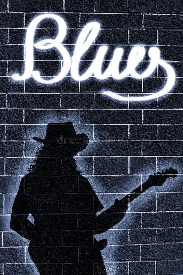 De schaduw van de gitaarmens stock foto