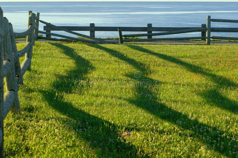 De schaduwen van de omheining bij zonsopgang stock fotografie