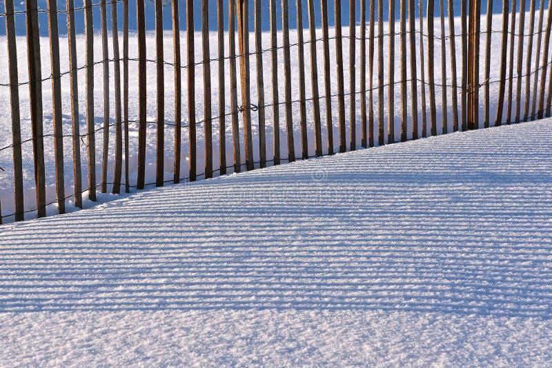 De schaduwen van een sneeuw perken de winter in stock afbeeldingen