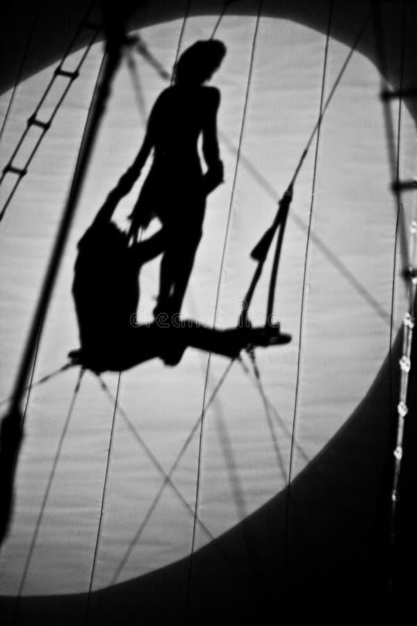 De schaduwen van het circus stock foto