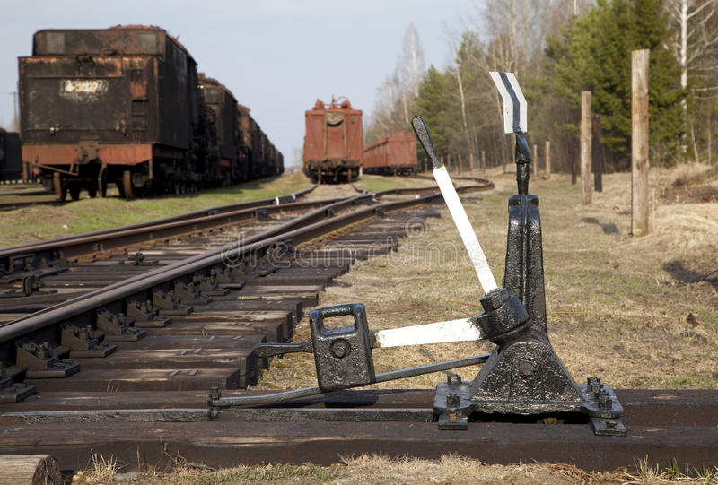 De schakelaar van de spoorweg stock fotografie