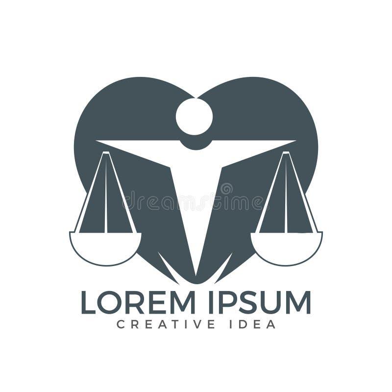 De Schalen van de mensenholding van Rechtvaardigheid Logo Wet en Procureur Logo Design stock illustratie
