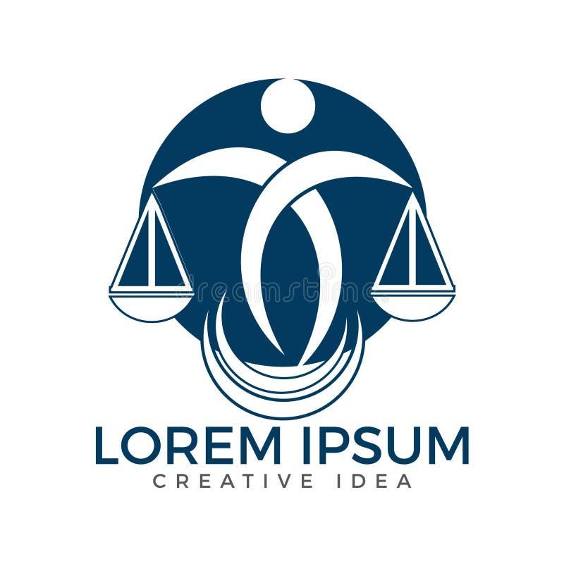 De Schalen van de mensenholding van Rechtvaardigheid Logo Wet en Procureur Logo Design vector illustratie