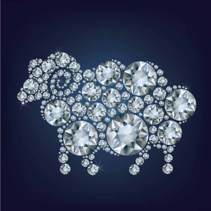De schapen maakten omhoog heel wat diamanten vector illustratie