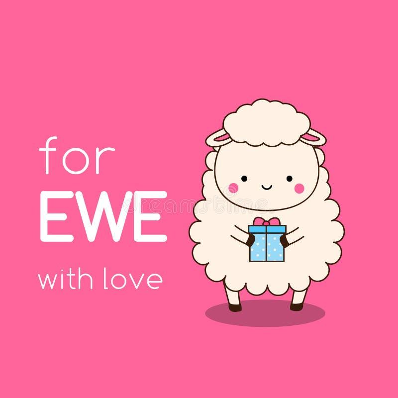 De schapen van beeldverhaalkawaii met giftdoos Leuk grappig karakter met typografie voor ooi met liefde illustratie voor valentij royalty-vrije illustratie