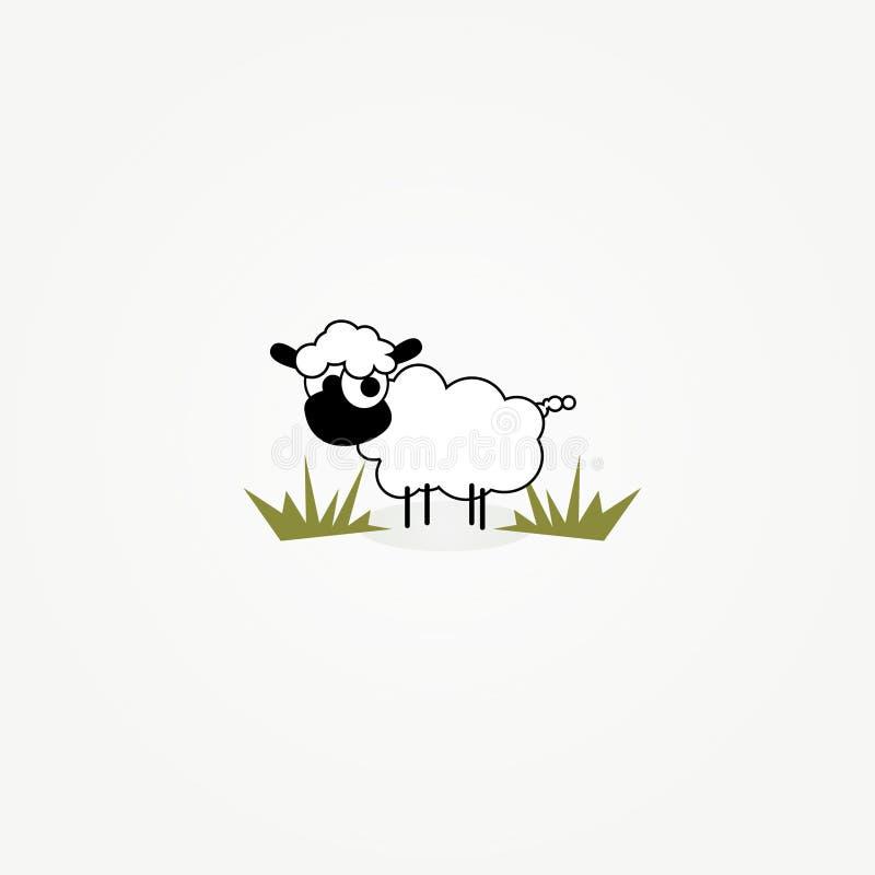 De schapen van het beeldverhaal in grasflard vector illustratie