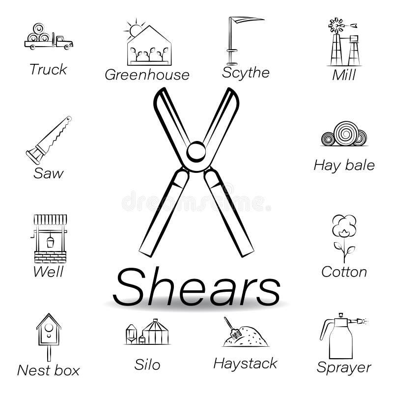 De scharenhand trekt pictogram Element van de landbouw van illustratiepictogrammen De tekens en de symbolen kunnen voor Web, embl vector illustratie