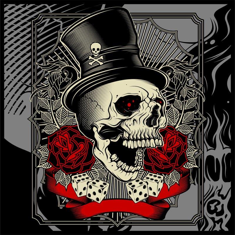 De schedel die hoed dragen en dobbelt toenam decoratie - vector vector illustratie