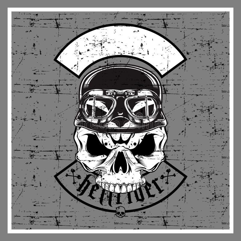 De schedel die van de Grungestijl retro helm dragen vector illustratie