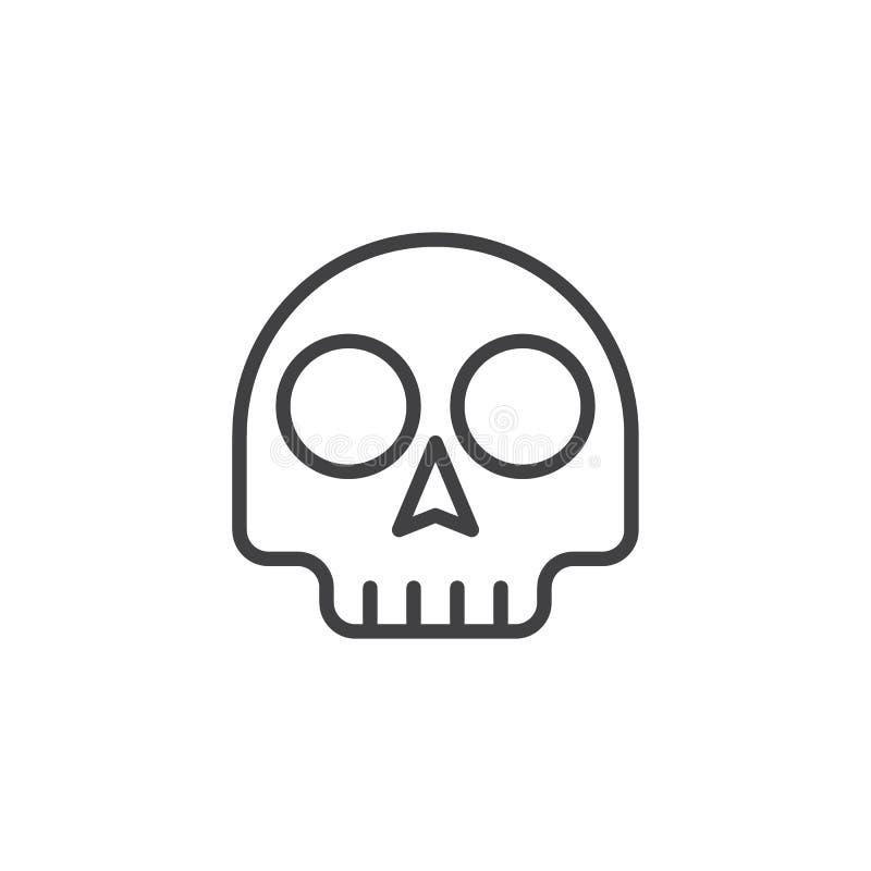 De schedel emoticon schetst pictogram royalty-vrije illustratie