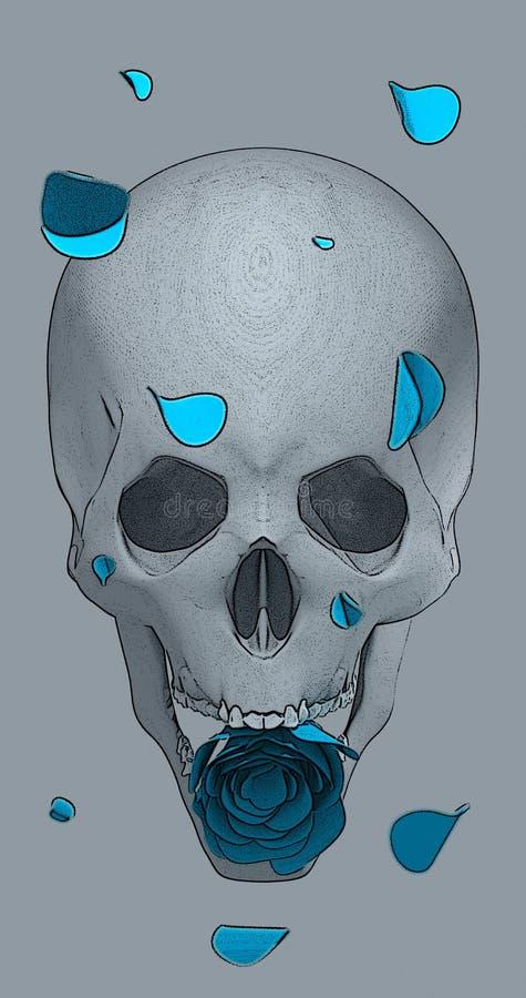 De schedel met een blauw nam toe stock afbeelding