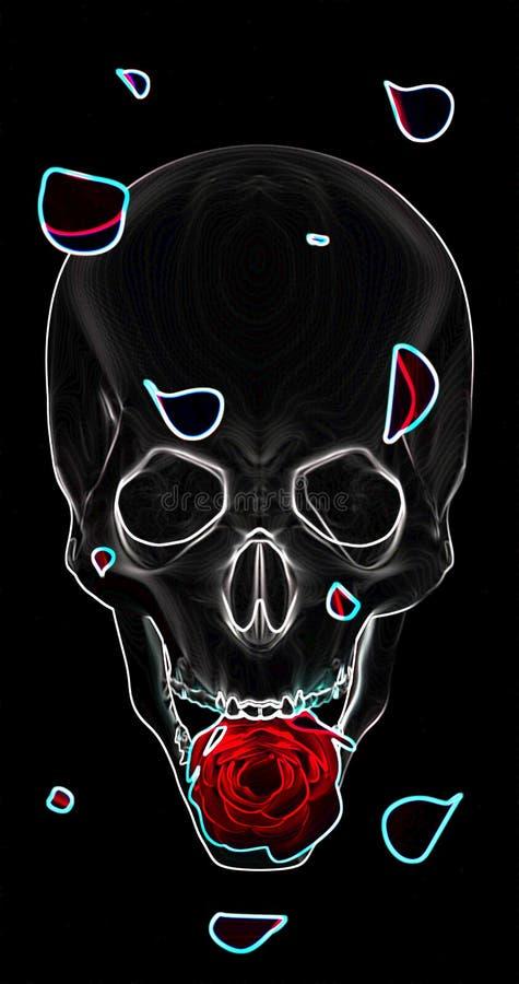 De schedel met een rood nam op een zwarte achtergrond toe stock afbeeldingen
