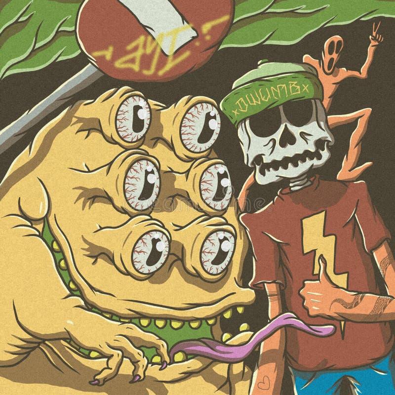 de schedel, de slanke man, en eyed monster zes royalty-vrije illustratie