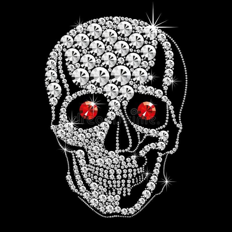 De schedel van de diamant met rode ogen