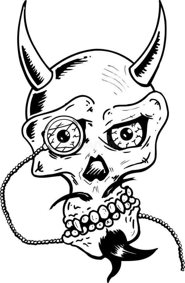 De schedel van de duivel met hoornen en glasooglens vector illustratie