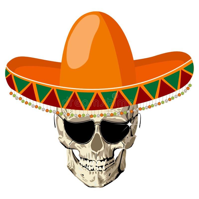 De schedel van de sombrero royalty-vrije illustratie