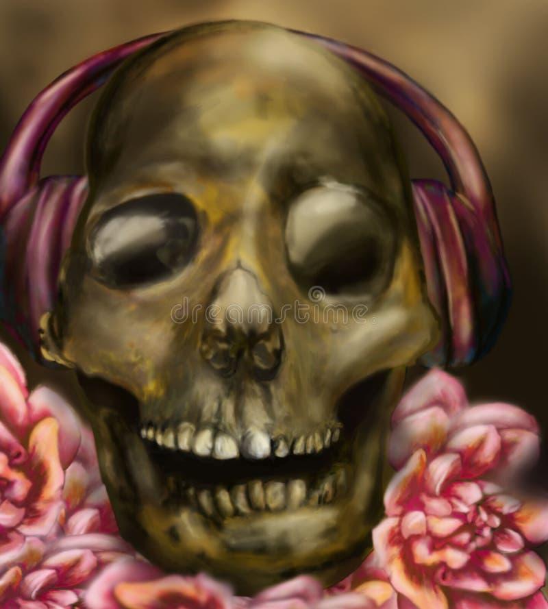 De schedel van DJ met telefoons vector illustratie