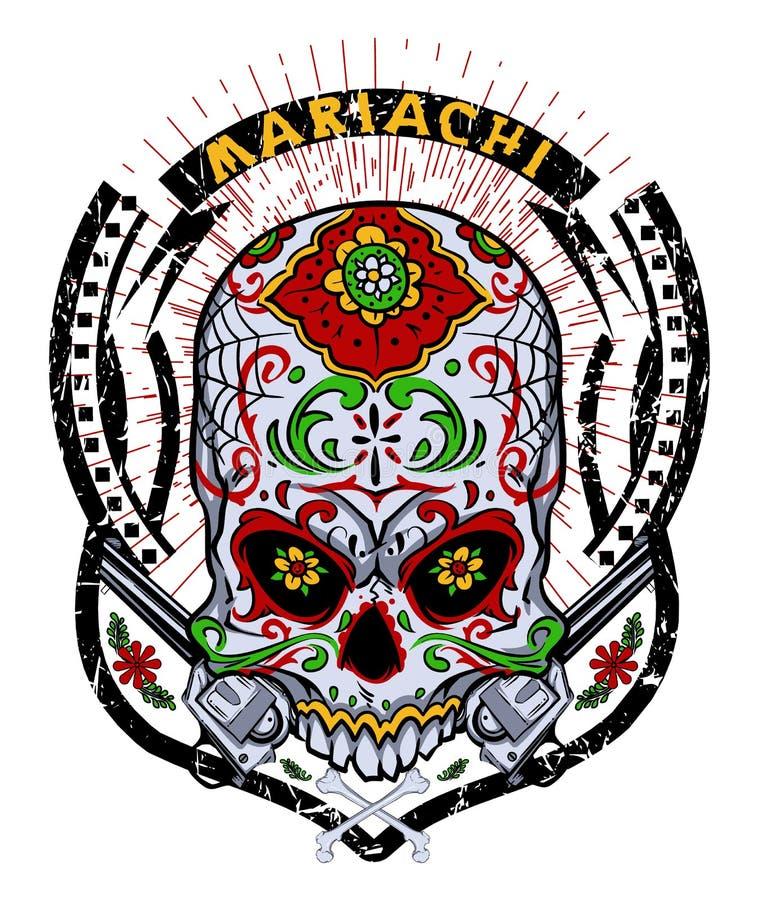 De schedel van Mariachi stock illustratie