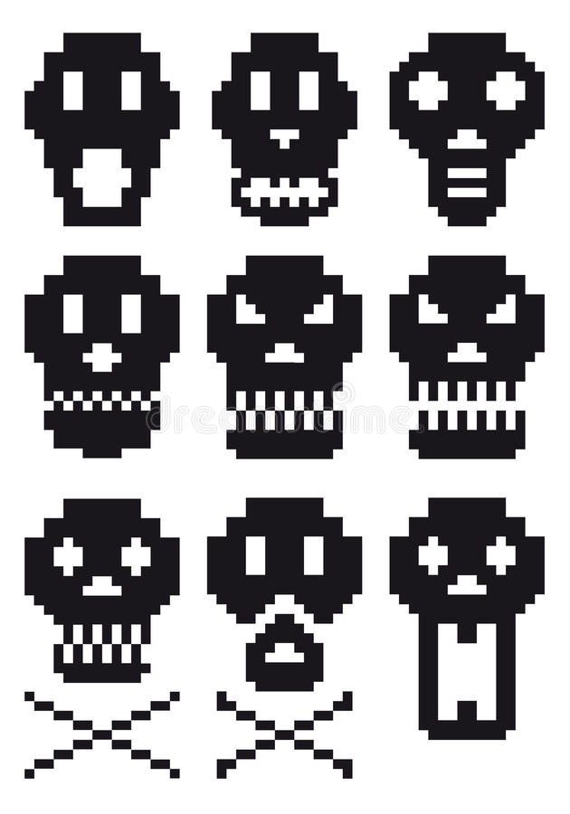 De schedels van het pixel,   royalty-vrije illustratie
