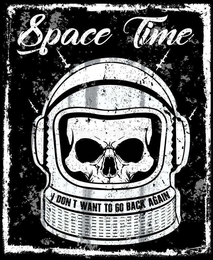 De Schedelt-shirt Grafische Des van de astronauten zwart-witte illustratie vector illustratie