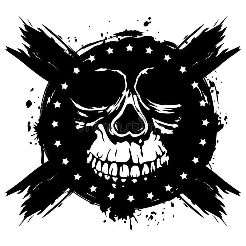 De schedelvector van Grunge vector illustratie