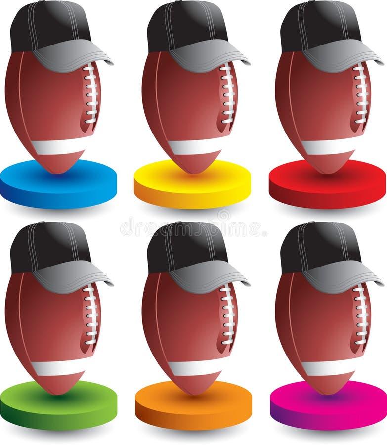 De scheidsrechters van de voetbal op gekleurde schijven stock illustratie