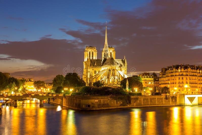 De schemer van Notredame cathedral paris royalty-vrije stock foto's