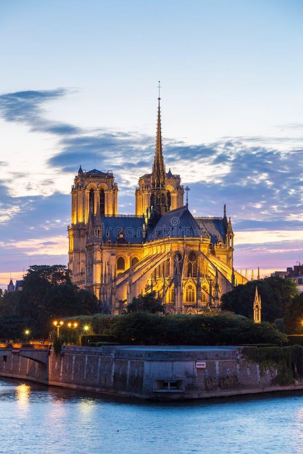 De schemer van Notredame cathedral paris stock afbeelding